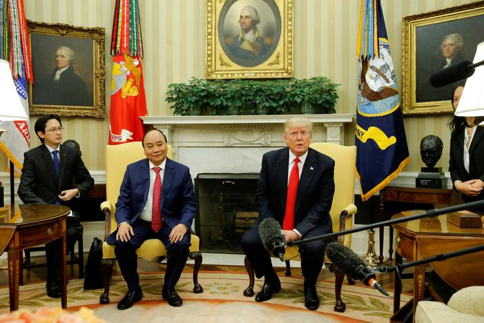 U.S. President Donald Trump welcomes Vietnam's Prime Minister Nguyen Xuan Phuc at the White House in Washington, U.S. May 31, 2017. Image: REUTERS/Jonathan Ernst