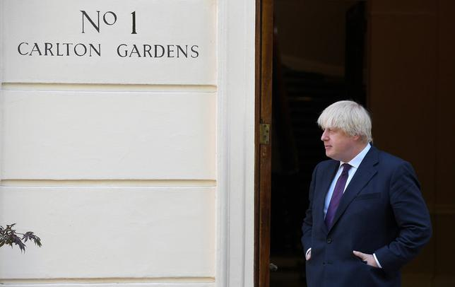 FILE PHOTO: Britain's Foreign Secretary  Boris Johnson waits to meet U.S. Secretary of State Rex Tillerson at his official residence in London, Britain, May 26, 2017. REUTERS/Toby Melville