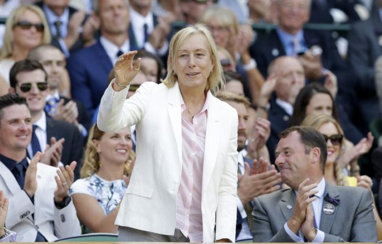 FILE PHOTO: Former tennis player Martina Navratilova waves to spectators on Centre Court as she is introduced at the Wimbledon Tennis Championships in London, July 4, 2015.  REUTERS/Henry Browne