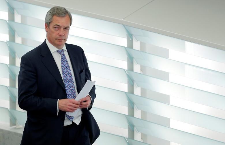 Nigel Farage, United Kingdom Independence Party (UKIP) member and MEP arrives for to take part in a voting session at the European Parliament in Strasbourg, France, April 4, 2017. REUTERS/Vincent Kessler