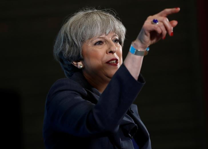Britain's Prime Minister Theresa May speaks at an election campaign event at C.J. Leonard and Sons in Guisborough, June 1, 2017. REUTERS/Stefan Wermuth