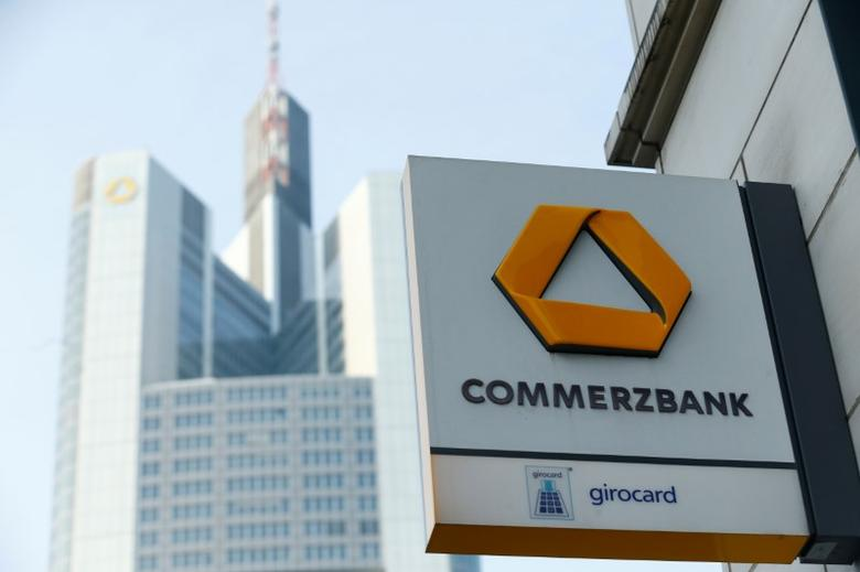 FILE PHOTO: A Commerzbank logo is pictured before the bank's annual news conference in Frankfurt, Germany, February 9, 2017.      REUTERS/Ralph Orlowski/File Photo
