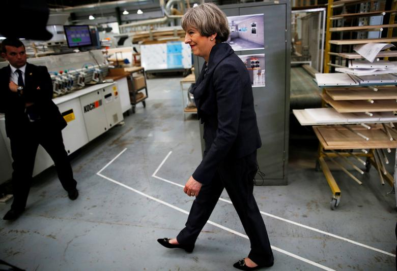 Britain's Prime Minister Theresa May attends an election campaign event at Ultima Furniture in Pontefract, June 1, 2017. REUTERS/Stefan Wermuth