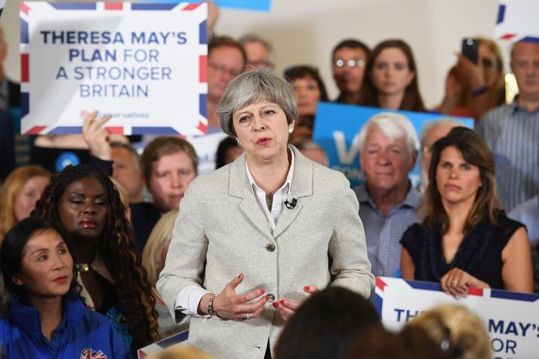 Britain's Prime Minister Theresa May attnds a campaign event in Twickenham, London, May 29, 2017. REUTERS/Leon Neal/Pool