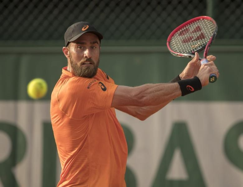 FILE PHOTO: May 28, 2017; Paris, France; Steve Johnson (USA) in action during his match against Yuichi Sugita (JPN) (not pictured) on day seven of the 2017 French Open tennis tournament at Stade Roland Garros. Mandatory Credit: Susan Mullane-USA TODAY Sports