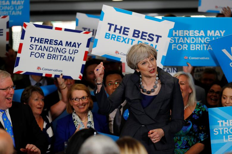 Britain's Prime Minister Theresa May speaks at an election campaign event at Pride Park Stadium in Derby, Britain June 1, 2017. REUTERS/Stefan Wermuth