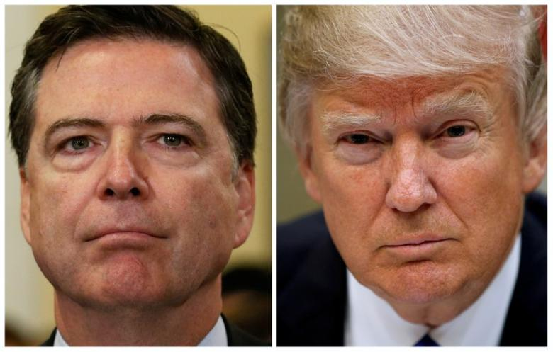 A combination photo shows FBI Director James Comey (L) on Capitol Hill in Washington, U.S. on July 14, 2016 and U.S. President Donald Trump at the White House in Washington, U.S., March 1, 2017. REUTERS/Jonathan Ernst,Kevin Lamarque/Files
