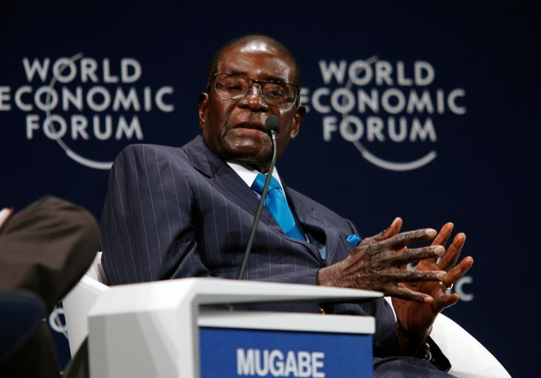Zimbabwean President Robert Mugabe participates in a discussion at the World Economic Forum on Africa 2017 meeting in Durban, South Africa May 4, 2017. REUTERS/Rogan Ward