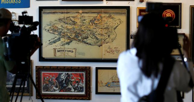 Walt Disney's original 1953 Disneyland map is seen on display during a press preview for the upcoming auction ''Walt Disney's Disneyland'' at Van Eaton Galleries in Sherman Oaks, California. REUTERS/Mario Anzuoni