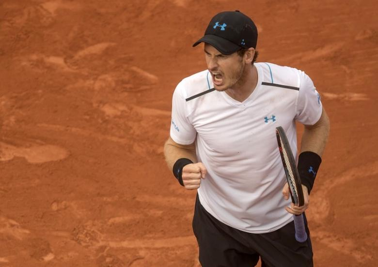 Jun 1, 2017; Paris, France; Andy Murray (GBR) reacts during his match against Martin Klizan (SVK) (not pictured) match on day five of the 2017 French Open tennis tournament at Stade Roland Garros. Mandatory Credit: Susan Mullane-USA TODAY Sports