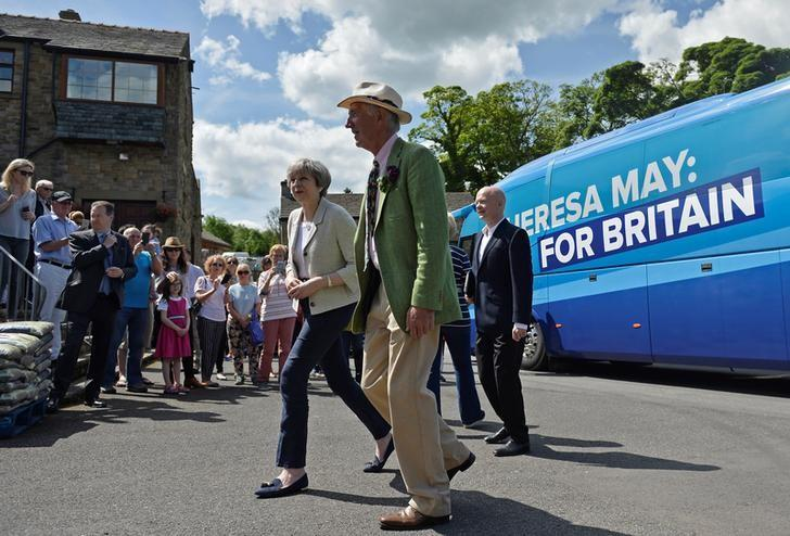 Britain's Prime Minister Theresa May arrives at an election campaign visit to Horsfields Nursery in Silkstone, South Yorkshire, Britain, June 3, 2017. REUTERS/Hannah McKay