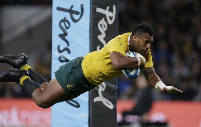 Rugby Union Britain - Argentina v Australia - Rugby Championship - Twickenham Stadium, London, England - 8/10/16Australia's Samu Kerevi scores a tryAction Images via Reuters / Henry BrowneLivepicEDITORIAL USE ONLY.