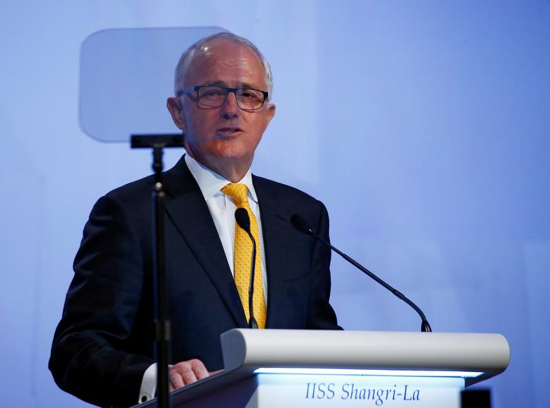 Australia's Prime Minister Malcolm Turnbull gives the keynote address at the 16th IISS Shangri-La Dialogue in Singapore June 2, 2017. REUTERS/Edgar Su