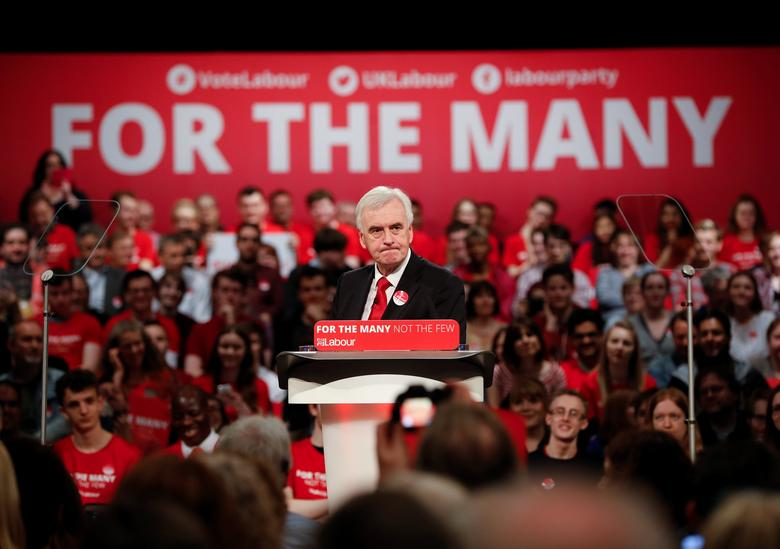 REFILE - CORRECTING ID Labour's Shadow Chancellor, John McDonnell makes a speech at a campaign event in Birmingham, Britain May 20, 2017. REUTERS/Darren Staples