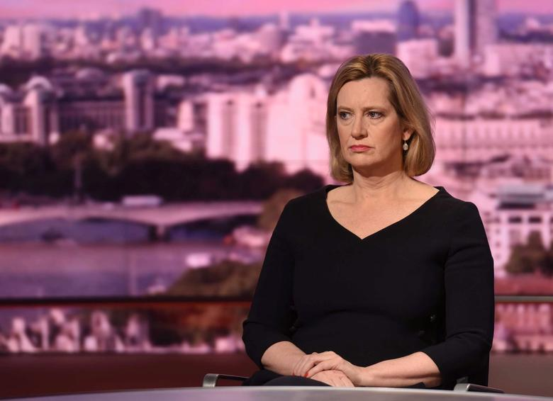 Britain's Home Secretary Amber Rudd speaks on the BBC's Marr Show in London, May 28, 2017. Jeff Overs/BBC Handout via REUTERS