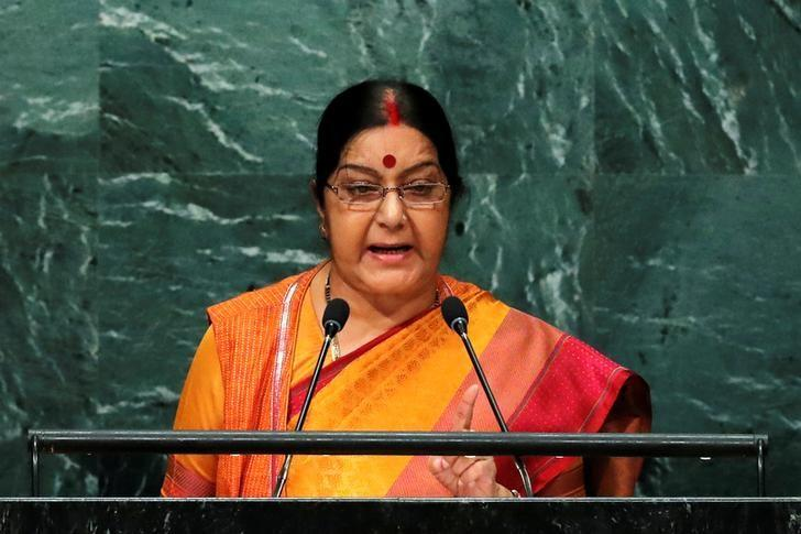 India's Minister of External Affairs Sushma Swaraj addresses the United Nations General Assembly in the Manhattan borough of New York, U.S., September 26, 2016.  REUTERS/Brendan McDermid