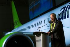 File photo: CEO airBaltic Martin Gauss speaks during a ceremony to announce Bombardier's delivery of the first CS300 aircraft to Air Baltic Corporation AS (airBaltic) in Mirabel, Quebec, Canada November 28, 2016.  REUTERS/Christinne Muschi