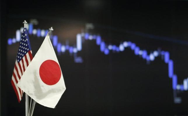 6月6日、午後3時のドル/円は、前日ニューヨーク市場午後5時時点と比べ、ドル安/円高の109.65/67円だった。心理的節目の110円を割り込んだことでムードが悪化。国内勢の買い意欲は後退しているもよう。写真は都内で2013年6月撮影(2017年 ロイター/Yuya Shino)