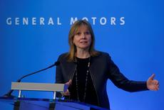 General Motors CEO Mary Barra addresses the media ahead of the start of GM's annual shareholders meeting at the Renaissance Center in Detroit, Michigan, U.S., June 6, 2017. REUTERS/Rebecca Cook