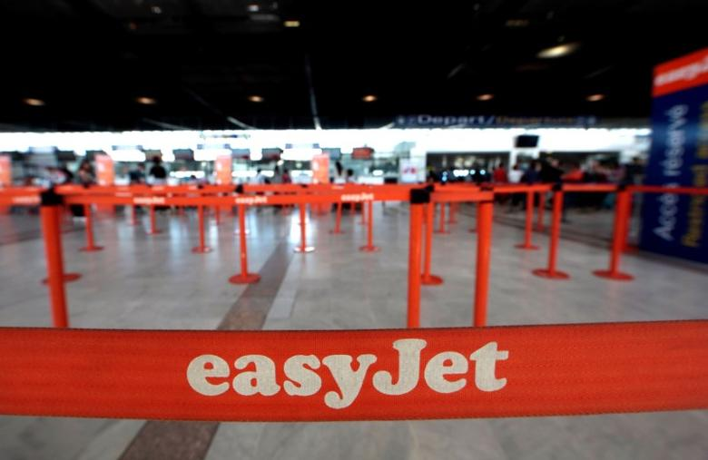 EasyJet counters are seen at Nice Cote D'Azur international airport Terminal 2 in Nice, France, May 4, 2016. REUTERS/Eric Gaillard/File Photo