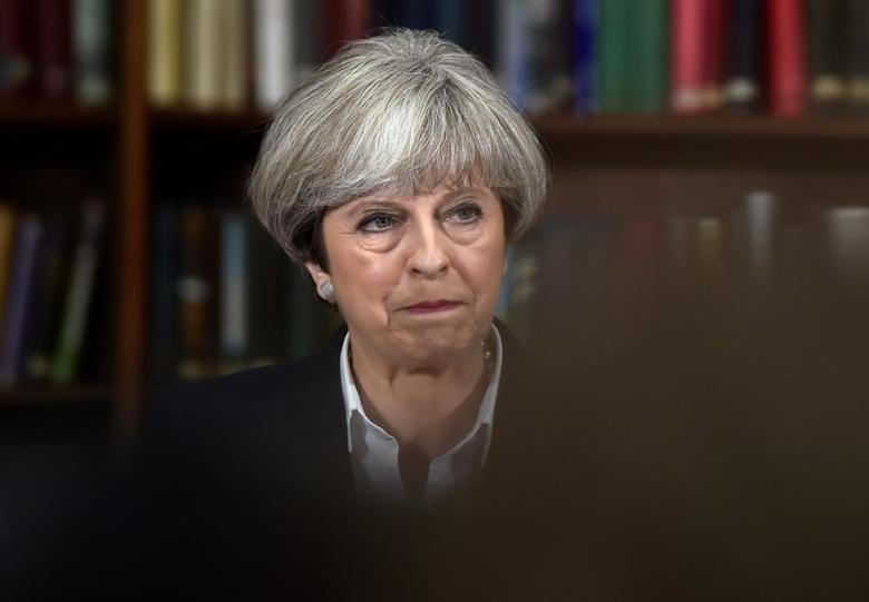 Britain's Prime Minister Theresa May delivers a campaign speech at the Royal United Services Institute (RUSI) in central London, Britain, June 5, 2017. REUTERS/Hannah McKay
