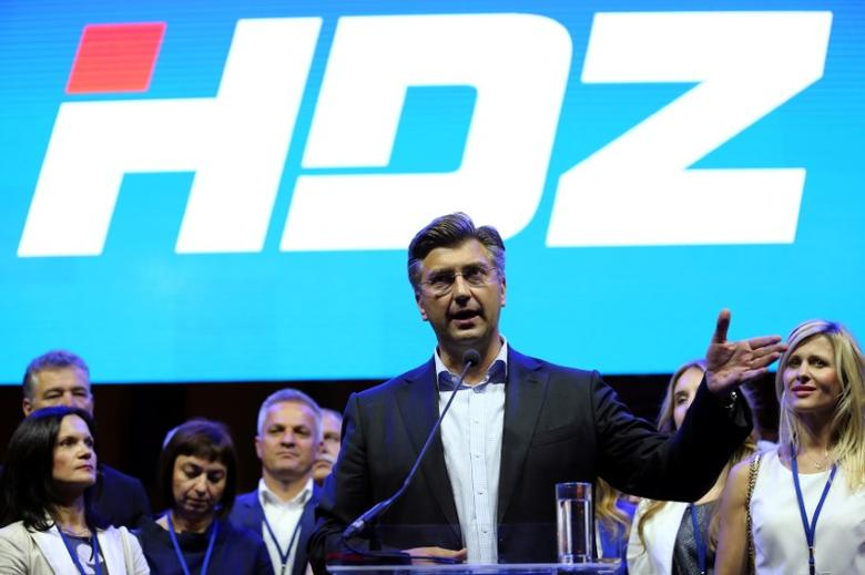 FILE PHOTO: Andrej Plenkovic, president of Croatian Democratic Union (HDZ), speaks during an election rally in Zagreb, Croatia September 8, 2016. REUTERS/Antonio Bronic