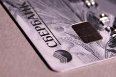 A credit card issued by Russia's Sberbank is seen in this picture illustration taken June 9, 2016. REUTERS/Maxim Zmeyev/Illustration