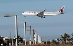 A Qatar Airways plane is seen in Doha, Qatar June 5, 2017. REUTERS/Stringer