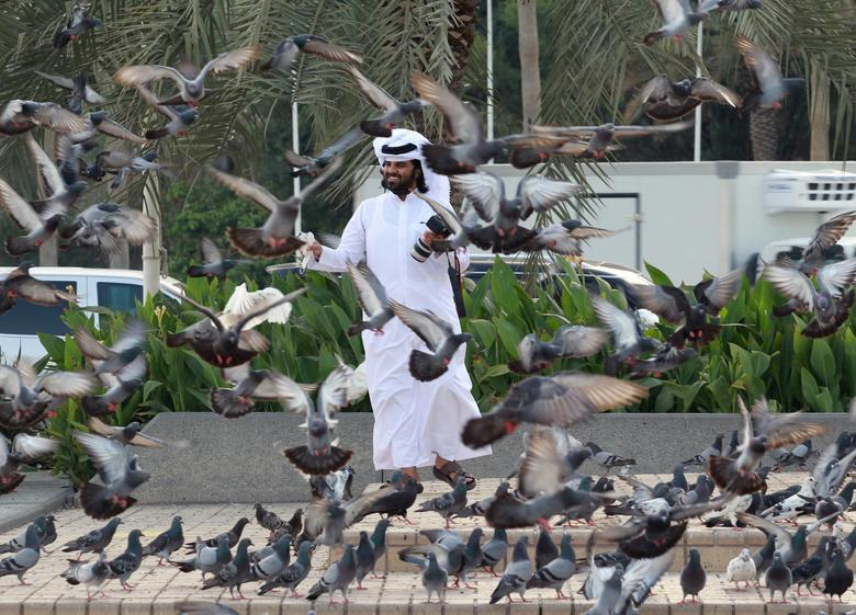 A man looks at pigeons at Souq Waqif market in Doha, Qatar, June 6, 2017. REUTERS/Naseem Zeitoon