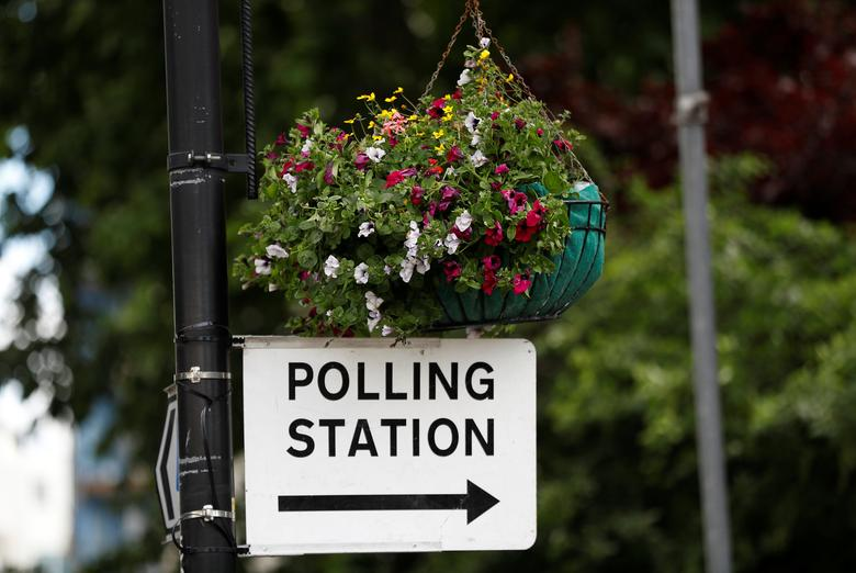 A sign to a polling station hangs from a lamp post in central London, Britain, June 7, 2017. REUTERS/Peter Nicholls
