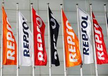 Repsol flags are seen at a conference hall during the company's annual shareholders meeting in Madrid, Spain, May 19, 2017.  REUTERS/Paul Hanna