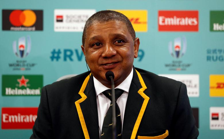 South Africa head coach Allister Coetzee attends a news conference after the Rugby World Cup 2019 pool draw at Kyoto State Guest House in Kyoto, Japan May 10, 2017. REUTERS/Issei Kato