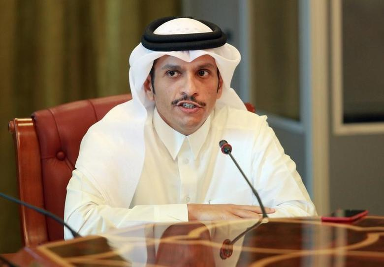 2017年6月8日,卡塔尔多哈,卡塔尔外长Sheikh Mohammed bin Abdulrahman al-Thani对记者发言。REUTERS/Naseem Zeitoon