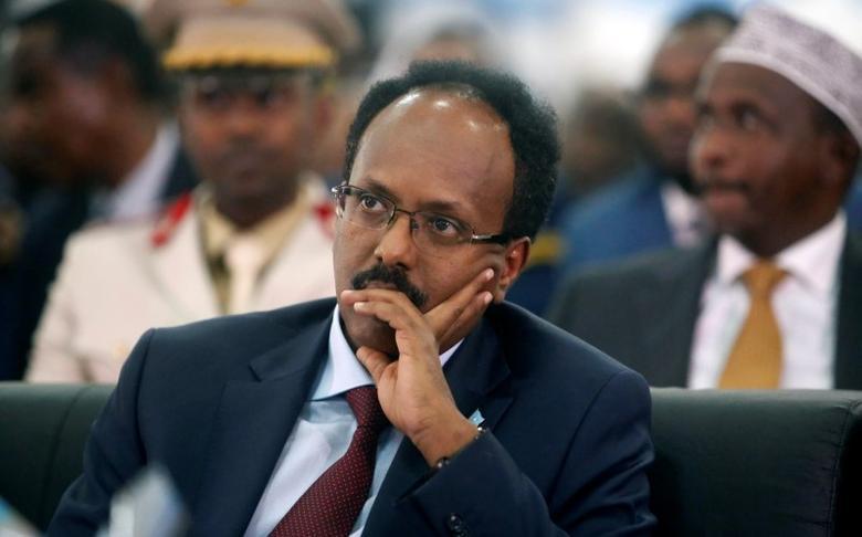Somalia's newly elected President Mohamed Abdullahi Farmaajo attends his inauguration ceremony in Somalia's capital Mogadishu, February 22, 2017. REUTERS/Feisal Omar