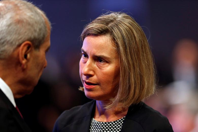 European Union foreign policy chief Federica Mogherini speaks with Jordanian Royal Court Chief Fayez al-Tarawneh before the opening ceremony of the World Economic Forum on the Middle East and North Africa at the King Hussein Convention Centre at the Dead Sea May 20, 2017. REUTERS/Muhammad Hamed