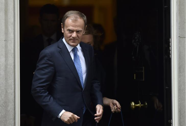 Donald Tusk, the President of the European Council, leaves after meeting Britain's Prime Minister, Theresa May inside 10 Downing Street, in central London, Britain April 6, 2017.        REUTERS/Hannah McKay
