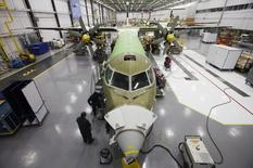 A Bombardier q400 airplane is seen being assembled at the Bombardier aircraft manufacturing facility in Toronto, November 25, 2010. REUTERS/Mark Blinch