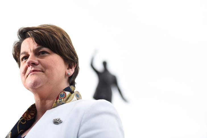 Leader of the Democratic Unionist Party (DUP) Arlene Foster speaks to media outside Stormont Parliament buildings in Belfast, Northern Ireland March 6, 2017. REUTERS/Clodagh Kilcoyne/Files