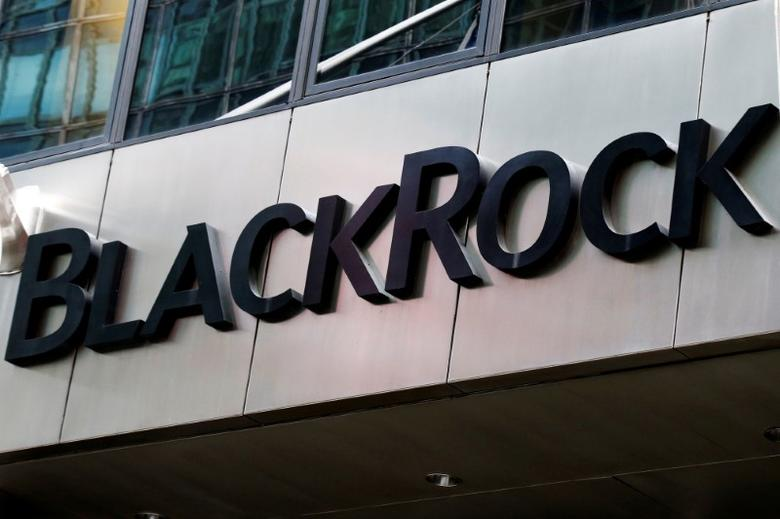 FILE PHOTO: The BlackRock logo is seen outside of its offices in New York City, U.S., October 17, 2016.  REUTERS/Brendan McDermid/File Photo