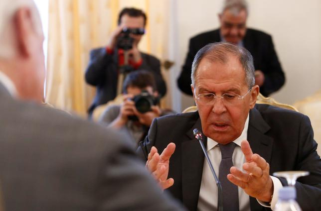 Russian Foreign Minister Sergei Lavrov speaks during a meeting with United Nations Special Envoy for Syria Staffan de Mistura in Moscow, Russia, June 8, 2017. REUTERS/Sergei Karpukhin