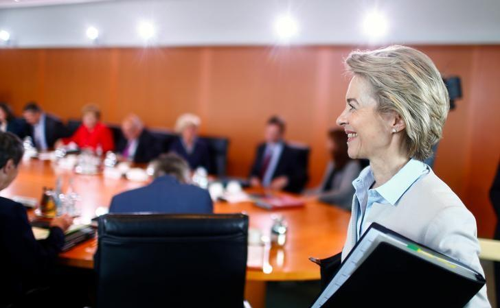 German Defence Minister Ursula von der Leyen arrives for the weekly cabinet meeting at the Chancellery in Berlin, Germany June 7, 2017. REUTERS/Hannibal Hanschke