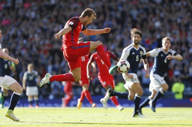 Britain Football Soccer - Scotland v England - 2018 World Cup Qualifying European Zone - Group F - Hampden Park, Glasgow, Scotland - June 10, 2017 England's Harry Kane scores their second goal  Reuters / Russell Cheyne Livepic