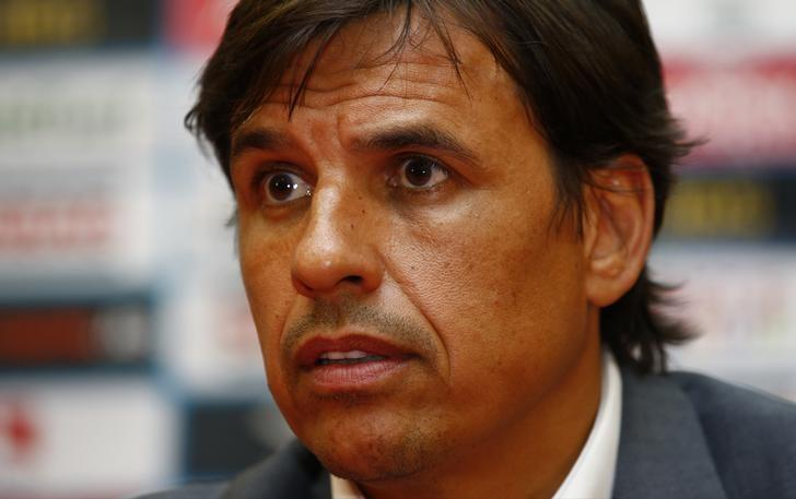 Football Soccer - Wales Press Conference - Stadion Rajko Miti , Belgrade, Serbia - June 10, 2017 Wales manager Chris Coleman during the press conference Action Images via Reuters / Peter Cziborra Livepic
