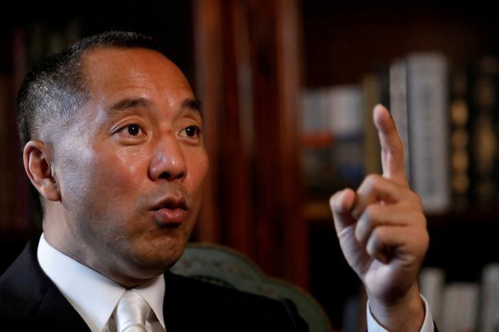 FILE PHOTO: Billionaire businessman Guo Wengui speaks during an interview in New York City, U.S., April 30, 2017.   REUTERS/Brendan McDermid/File Photo