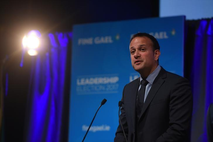 FILE PHOTO: Leo Varadkar makes his acceptance speech at the count centre as he wins the Fine Gael parliamentary elections to replace Prime Minister of Ireland (Taoiseach) Enda Kenny as leader of the party in Dublin, Ireland June 2, 2017. REUTERS/Clodagh Kilcoyne/Files