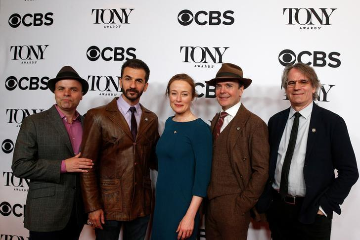 Nominees for the Broadway Play 'Oslo' pose together during arrivals for the 2017 Tony Awards Meet The Nominees Press Reception in New York, U.S., May 3, 2017.  REUTERS/Brendan McDermid/Files