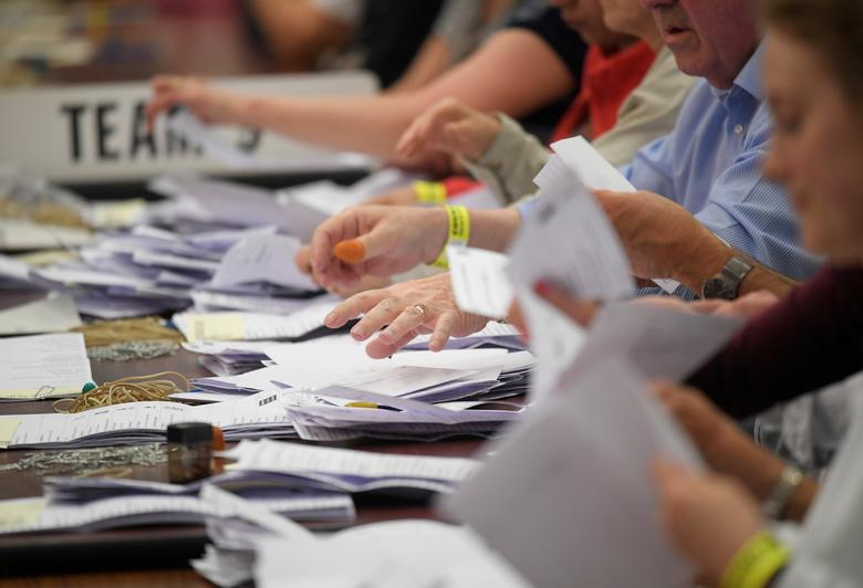 Ballots are counted at a counting centre for Britain's general election in Maidenhead. REUTERS/Toby Melville