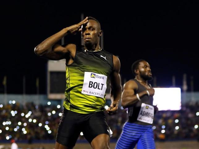 6月11日、陸上で五輪3連覇を達成し、今年8月の世界選手権ロンドン大会を現役最後のレースと宣言したウサイン・ボルト(30、ジャマイカ)は、10日の第2回レーサーズ・グランプリに出場し、男子100メートルで優勝した(2017年ロイター/Gilbert Bellamy)