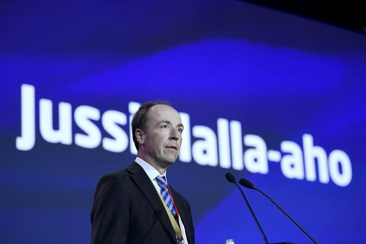 Newley-elected chairman of the Finns Party and Member of the European Parliament Jussi Halla-aho delivers his speech at the Finns Party congress in Jyvaskyla, Finland June 11, 2017. LEHTIKUVA/Jussi Nukari via REUTERS