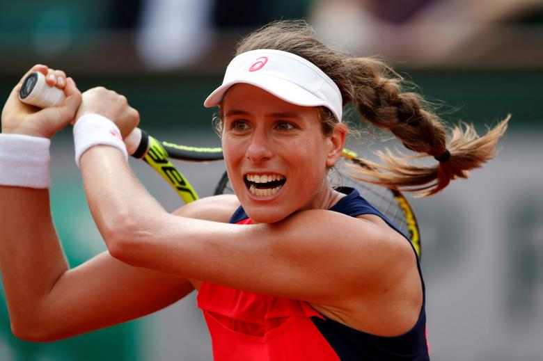 Tennis - French Open - Roland Garros, Paris, France - 30/5/17 Great Britain's Johanna Konta in action during her first round match against Taiwans's Hsieh Su-wei Reuters / Christian Hartmann